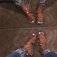moda sandalet çapraz toptan satış-Kadınlar çapraz kayış moda vahşi plaj ayakkabı açık trend bayan ayakkabıları yaz hala düz sandalet terlik