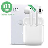 ingrosso auricolare auricolare basso-I11 TWS Mini Bluetooth Auricolare Wireless Bass Auricolare Bluetooth Versione 5.0 Stereo con scatola di ricarica Mic per tutti gli smartphone Android