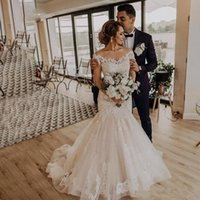 Wholesale corset mermaid off shoulder wedding dresses resale online - New Vintage Country Cheap Mermaid Wedding Dresses Off Shoulder Champagne Lace Appliques Tulle Beaded Corset Plus Size Formal Bridal Gowns