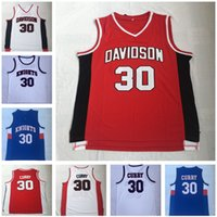 9e616595e38 Men s NCAA Stephen 30 Curry Charlotte Knights Jersey Davidson Wildcats  Curry College Uniform Stitched Vintage High School basketball shirts