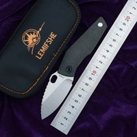 cuchillo de cobre titanio al por mayor-LEMIFSHE SJ75 cuchillo plegable D2 cuchilla TC4 titanio CF mango lavadora de cobre al aire libre utilidad de camping cuchillo de fruta herramienta EDC