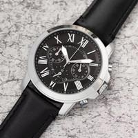 kral kuvars erkek saatleri toptan satış-En lüks ABD erkekler İş İzle tüm pointer iş pu deri kayış FO chronograph kuvars saatler big bang kral relogio usta kol saati 1