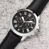 könig quarzuhren großhandel-Top Luxus USA Männer Business Watch alle Zeiger arbeiten PU Lederband FO Chronograph Quarzuhren Big Bang King Relogio Master Armbanduhr 1