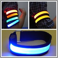 Wholesale cloth tapes for sale - Group buy LED Arm Band Light Flash Night Cycling Festival Gala Armband Cloth Cover Red Blue Yellow Warnning Tape ybD1