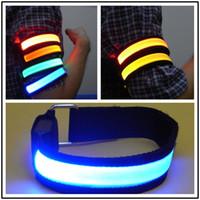 mavi ışık bandı toptan satış-LED Kol Bandı Işık Flaş Gece Bisiklet Festivali Gala Armband Bez Kapak Kırmızı Mavi Sarı Uyarma Bant 2 9ybD1