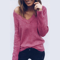8a3711a68 Womens Deep V-Neck Sexy Sweaters Spring Winter Long Sleeve Backless Knitted  Tops Woman Solid Color Sweaters