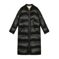 abrigo negro brillante al por mayor-Chaqueta de algodón para mujer Sustans Parka para mujer de invierno Abrigos brillantes Mujeres Pan acolchado Moda de gran tamaño Outwear 2019 Nuevo NEGRO