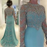 Wholesale mint green chiffon plus size dresses for sale - Group buy 2020 Cheap Mint Green Vintage Sheath Prom Dresses Long Sleeve Beads Long Sleeves Appliqued Evening Party Gown