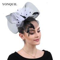 sombrerería para bodas al por mayor-Mujeres elegantes señoras día fascinadores para bodas derby headwear birdal mesh pinzas para el cabello accesorios damas fiesta chapeau cap