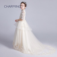 Wholesale childrens lace shirts for sale - Group buy girl dress princess Trailing skirt girl holiday dresses pretty dresses for girls formal dress maxi dress childrens lace flower girls d