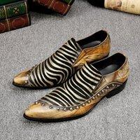zebra şerit düz ayakkabılar toptan satış-İngiliz Tarzı Zebra Şerit Erkekler Loafer'lar Moda Rahat Erkekler Flats Ayakkabı Parti Ayakkabı üzerinde Kayma