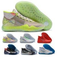 zapatillas de baloncesto kd floral al por mayor-Kd 12 zapatos para hombre de baloncesto Kevin Durant EYBL floral mermelada de melocotón guerreros Inicio 90 Kid Dub Nation Lobo Negro KD las zapatillas de deporte del zapato del diseñador