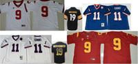 jerseys baratos equipos de fútbol al por mayor-USC Trojans # 9 JuJu Smith-Schuster # 19 Pittsburgh Mens Vintage College 11 Phil Simms Color Rush Saludo Fútbol Americano Jerseys Barato