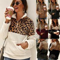 ingrosso cappotti di moda maglia donna-2019 nuove donne di modo manica Autunno Inverno risvolto collo stampati leopardo Felpe in maglia Long Pullover spessi maglioni Coat
