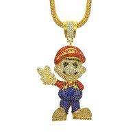 Wholesale best mens gold chains resale online - Best Quality Alloy Designer Necklace Cartoon Game Women Mens Necklace Rhinestone Hip Hop Necklaces Fashion Jewelry
