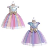 ingrosso tutus arcobaleno per le ragazze-Toddler Girls Princess Dresses 2+ Halloween Rainbow Big Bow Tie Sash TUTU Abito di pizzo con paillettes bambini Designer Party Peform Costume 2-8T