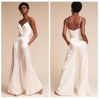 40f0f9d64b0 black white plus size jumpsuit NZ - White Wedding Jumpsuit 2019 Spaghetti  Backless Floor Length Satin