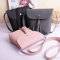 Wholesale handbag shoulder korea resale online - New Fashion Japan and South Korea new simple tassel mini bag small handbag wallet small Messenger bag