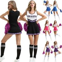menina da escola do vestido extravagante venda por atacado-Cheerleader Ladies Costume School Girl Outfits Outfit Fancy Dress Líder Uniforme sexy