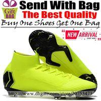 calcetines de fútbol verde negro al por mayor-Nuevos Hombres Zapatos de fútbol de tobillo alto Mercurial Superfly VI FG Botas de fútbol Zapatillas de deporte Calcetines de fútbol Botines de fútbol Fluorescente Verde Negro