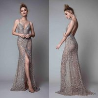 Wholesale plunging neckline sexy photos for sale - Group buy 2019 New Rhinestones Sleeveless Plunging Neckline Prom Dress Backless Floor Length Formal Evening Gowns Berta Front Split Evening Dresses