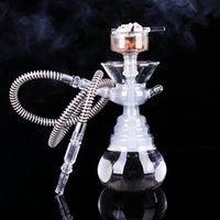 ingrosso vetro narguile-Set di narghilè trasparente di alta qualità con pipa per fumatori Supporto per narghilè narghilè di vetro Set di narghilè Sheesha Narguile Chicha