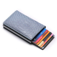 Wholesale mini card suitcase for sale - Group buy BYCOBECY New RFID Smart Wallet PU Leather High Quality Suitcase Card Wallet Aluminum Box Slim Mini Business Card Holder Case