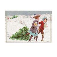 chicas de la alfombra al por mayor-Alfombras de baño de Navidad Dos niñas arrastran un árbol de pino en la nieve Antideslizante Piso tapete de la puerta delantera del piso de felpudo antideslizante