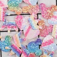 kalp giyim klipleri toptan satış-10 adet Bling Glitter Yamalar Kumaş Yastıklı Aplikler Kalp DIY Bebek Saç Bantları Yay Klipleri Aksesuarları için Yamalar Giyim dikiş