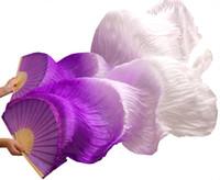 lila goldschleier großhandel-2018 weibliche hochwertige chinesische Seide Schleier tanzen Fans Paar Bauchtanz Fans billig heißer Verkauf lila + hell lila + weiß