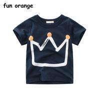 ingrosso magliette da neonati arancione-Fun Orange Summer T-shirt per bambini Maglietta Crown Print T-shirt a maniche corte per neonato T-shirt per bambini in cotone T-shirt O-Neck