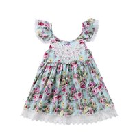 vestido con tirantes bohemia al por mayor-Nuevo diseño Las niñas de las flores visten a la princesa del bebé falda de encaje honda O-cuello del verano del partido vestidos de los niños ropa 2-7T