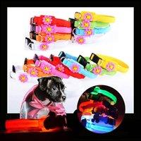 ingrosso ha condotto il collare del cane di incandescenza-Collare Pet LED 3cm Collare ampio e luminoso per animali domestici Incandescente LED oscurabile regolabile Illuminazione notturna lampeggiante Sicurezza