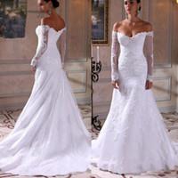 off branco beach casamento vestidos venda por atacado-Alças sereia Vestidos de casamento do laço 2020 do casamento de praia Vestidos de branco marfim Bride Dress robe de mariee