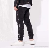 jeans diseñados cool al por mayor-Pantalón de deporte de primavera para hombre Pantalones vaqueros de diseño con diseño de cremallera negro Pantalones largos y elegantes