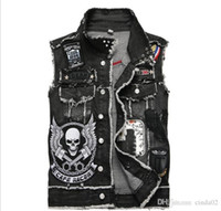 Applique Skull Men Punk Style Hip Hop Denim Vests With Rivets Fashion Hi Street Ripped Jean Waistcoat Sleeveless Jackets