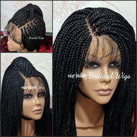 Wholesale blonde ombre braiding hair for sale - Group buy Free Part Box Braids Wig black brown blonde red brazilian full lace front Wig Jumbo braids synthetic wig Baby Hair Heat Resistant
