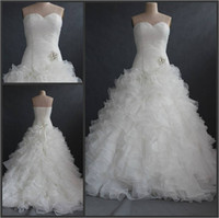 свадебные платья каскадные оборки оптовых-Милая развернутая шлейфная юбка Каскад с оборками из органзы Свадебные платья русалки