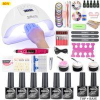 Wholesale gel polish kits lamp resale online - Nail Set W W W UV LED Lamp Dryer With Nail Gel Polish Kit Gel Polish Kit For Manicure Art Tools