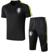 Wholesale army blue suit resale online - Korea psg man utd training suit soccer short sleeve pants Summer Paris RONALDO MESSI football shirt tracksuit