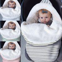 neugeborener baby sack großhandel-Dickes Baby Swaddle Wrap stricken Umschlag Neugeborenen Schlafsack Baby warme Swaddling Decke Kinderwagen Schlaf Sack Fußsack