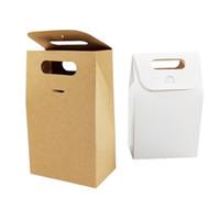 ingrosso negozio laser-30 pz / lotto sacchetto di carta kraft blank scatole regalo di compleanno marrone bianco per negozi candy cake dessert forniture per feste di nozze Q190603