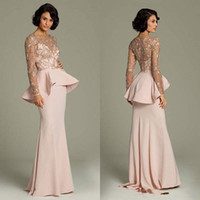 Wholesale evening dresses back detailing for sale - Group buy Vintage Pink Luxury Detail Beaded Lace Long Sleeve Evening Pageant Dresses Modest Peplum Full Back Charming Prom Gowns