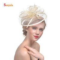 Wholesale fascinators wedding hats bride resale online - Linen Bridal Hats with Face Veil Feathers Wedding Headpiece Bride Hair Accessories Women s Fascinators tocados de fiesta H01