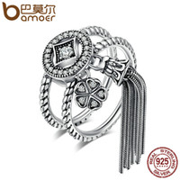 Wholesale geometric rings online - Bamoer Sterling Silver Double Layer Round Geometric Long Tassel Finger Ring For Women Bohemian Vintage Jewelry Scr088 J
