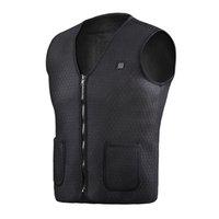 ingrosso maglia escursioni in nero-Gilet riscaldato, gilet riscaldabile riscaldato di ricarica regolabile in formato USB per golf da escursione in campeggio (batteria non inclusa) nero
