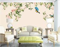 flores pintadas para paredes chinesas venda por atacado-3d papel de parede personalizado foto HD flor e pássaro moderno Chinês fundo pintura de parede papel de parede para paredes 3 d arte da parede da lona fotos