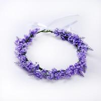 coroas artificiais venda por atacado-Fotografia Lavender Artificial Garland Flower viagem Coroas Lavender cabelo Crown Flor Acessórios de casamento nupcial headpiece Headband