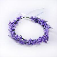yapay çiçek düğün saçları toptan satış-Yapay Lavanta Garland Çiçek Çelenkler Lavanta Seyahat Fotoğraf Saç Aksesuarları Düğün Çiçek Taç Gelin başlıkiçi Kafa