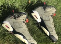 siyah magista futbol çizme toptan satış-2019 Travis Scott x Airs 6 Erkek Basketbol Ayakkabıları 6s Orta Zeytin 6s Tasarımcı spor ayakkabı Boyut 7-12